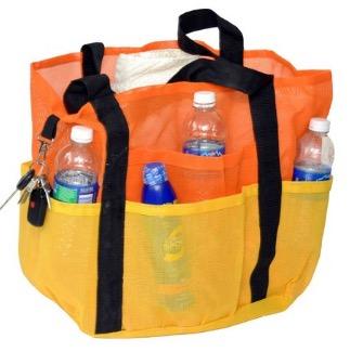 Deluxe Oversized Mesh Family XL Beach Tote Jumbo Bag w Carabiner Hook