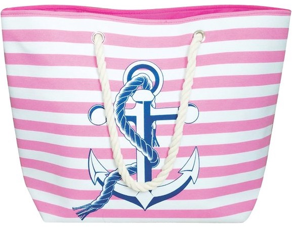 Large Water Resistant Canvas Striped Beach Bag