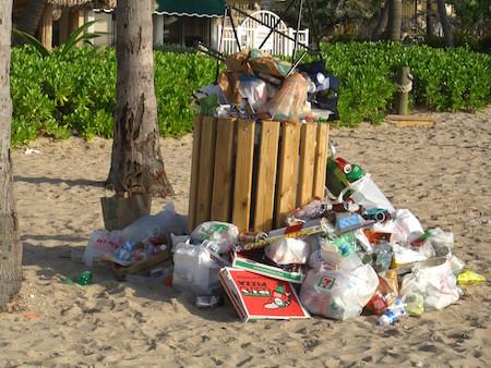 litter at the beach