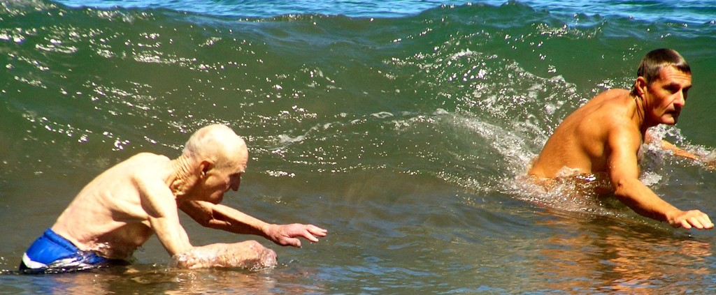 old people body surfing