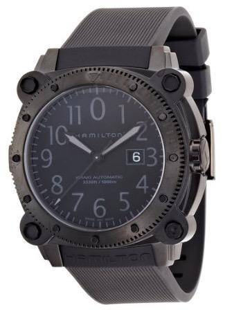 Hamilton Men's H78585333 Khaki Navy BelowZero Black Dial Watch