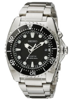 Seiko SKA371 Stainless Steel Kinetic Dive Watch