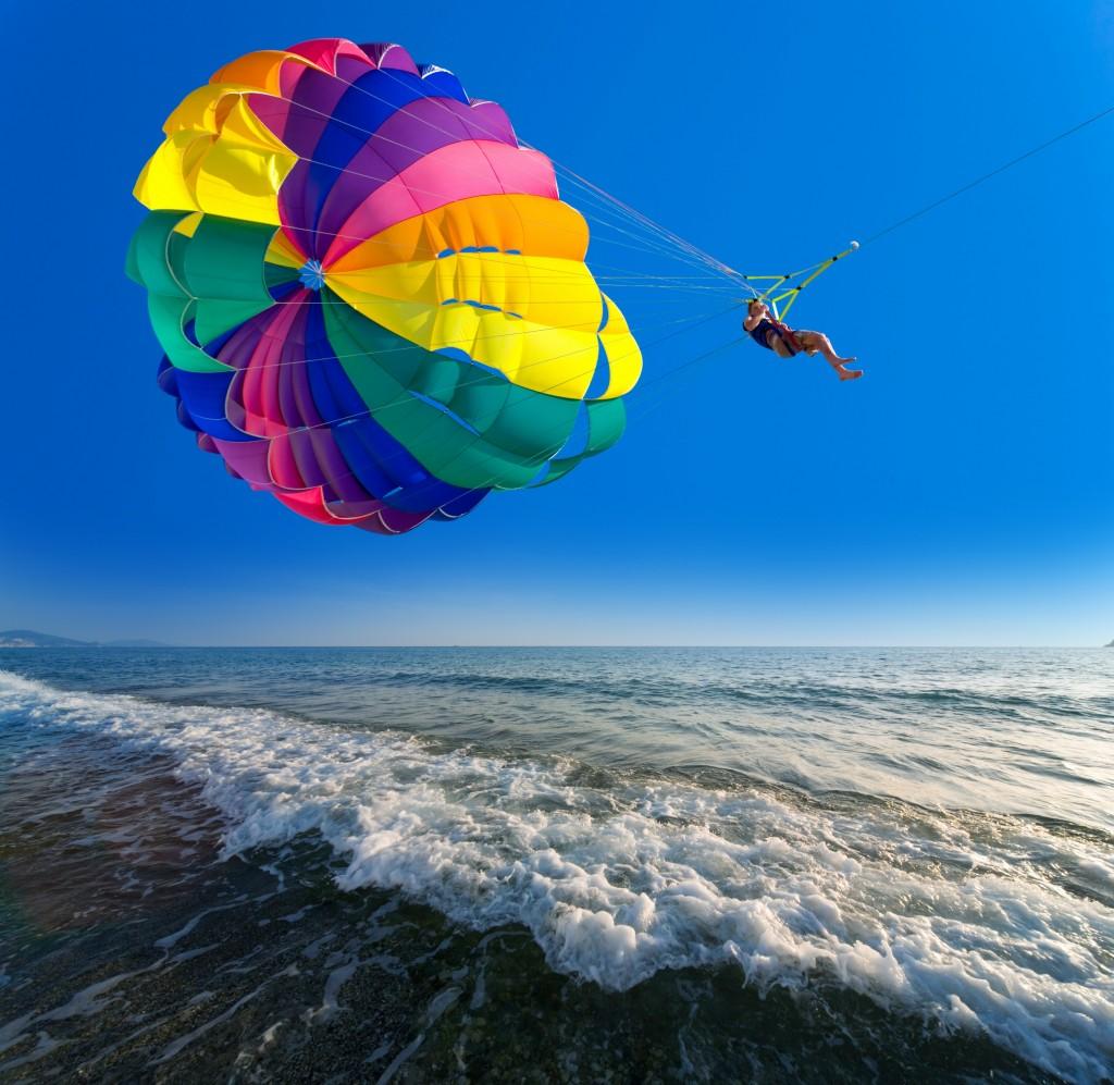 parasailing over water