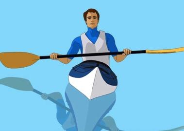 balancing in a kayak