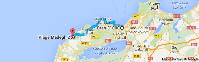 distance from oran algeria to plage medegh