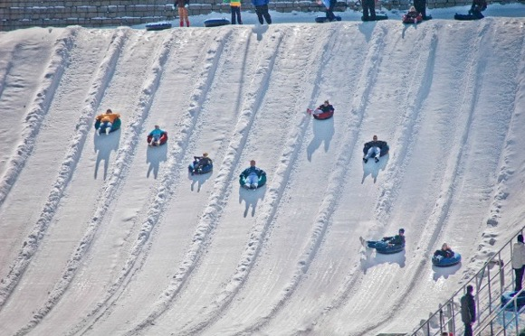 snow tubing in the winter