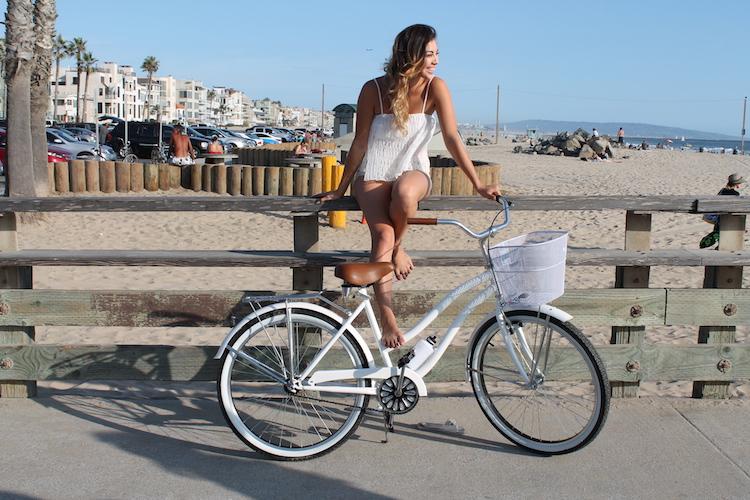 white beach cruiser bike