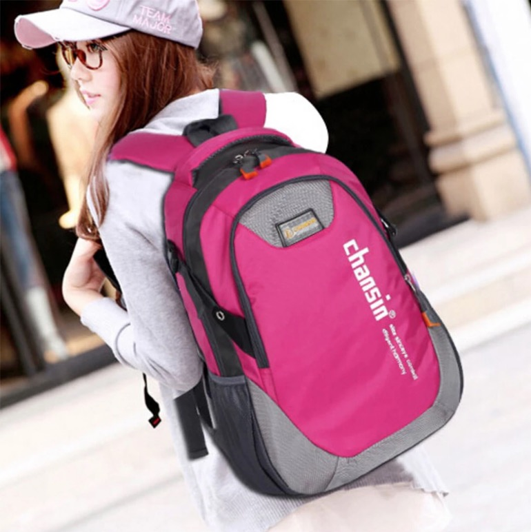 pink travel backpack