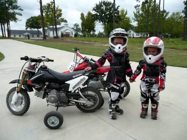 Little Kids Riding Dirt Bikes