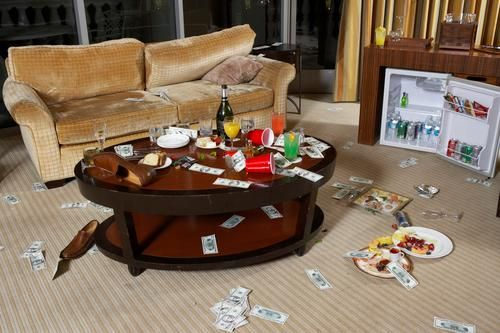 trashed hotel room