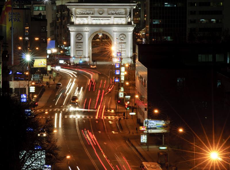 downtown skopje at night