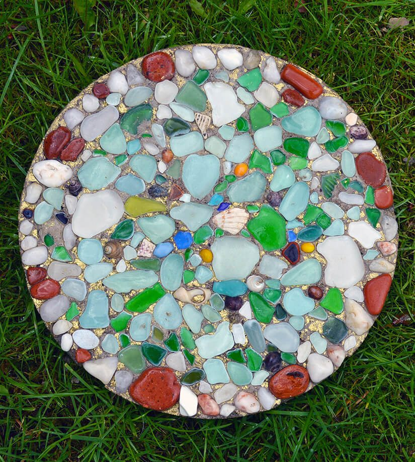 sea glass stepping stone