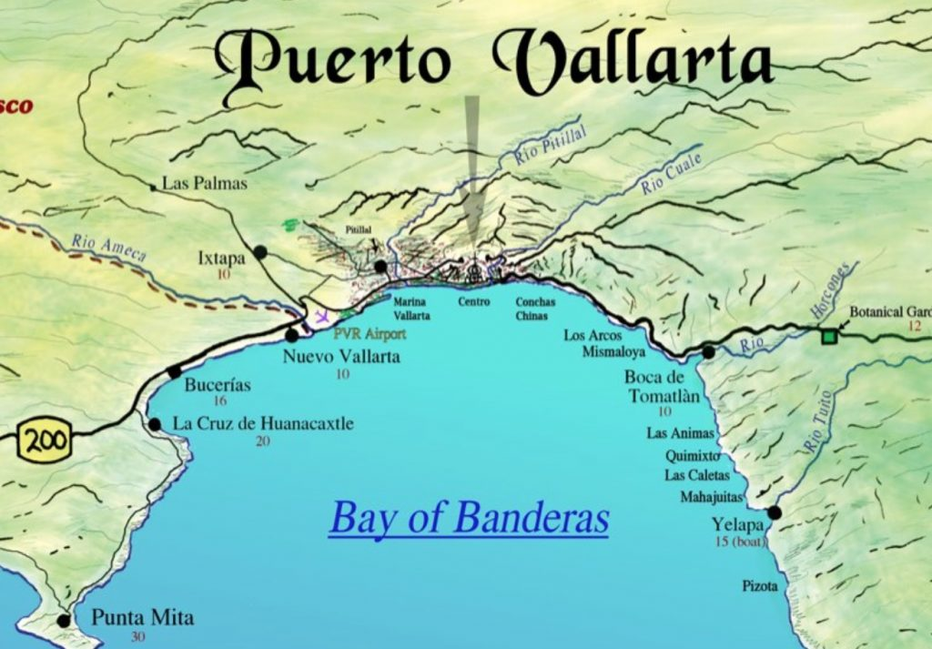 Banderas Bay Mexico map   Beach Baby