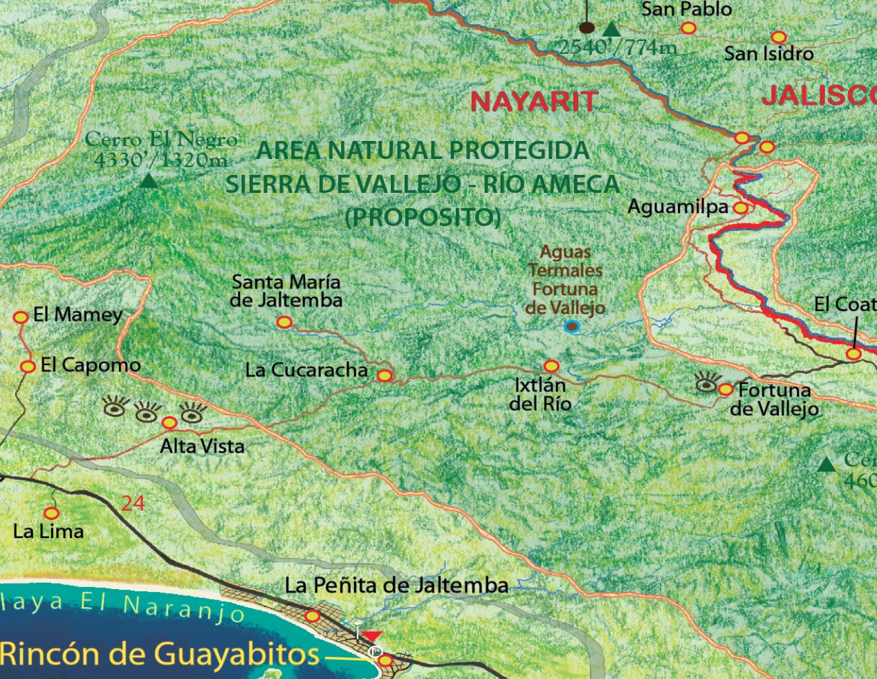 map of sierra vallejo madre mountains