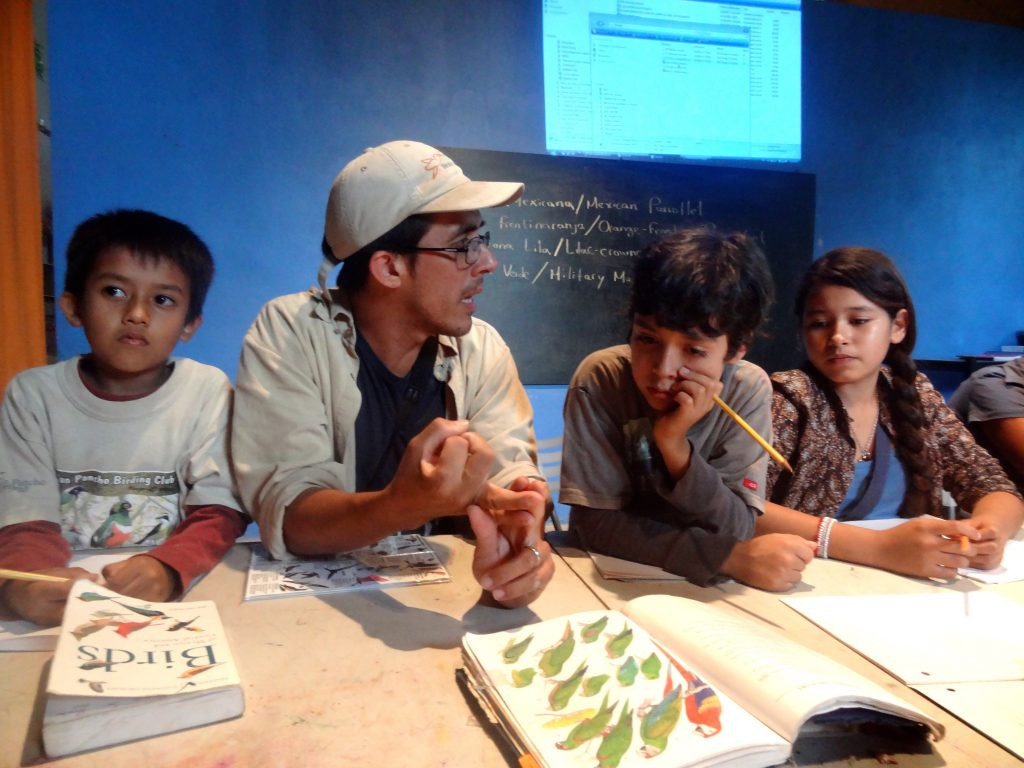 Luis Morales with kids from the BirdingSanPancho bird club