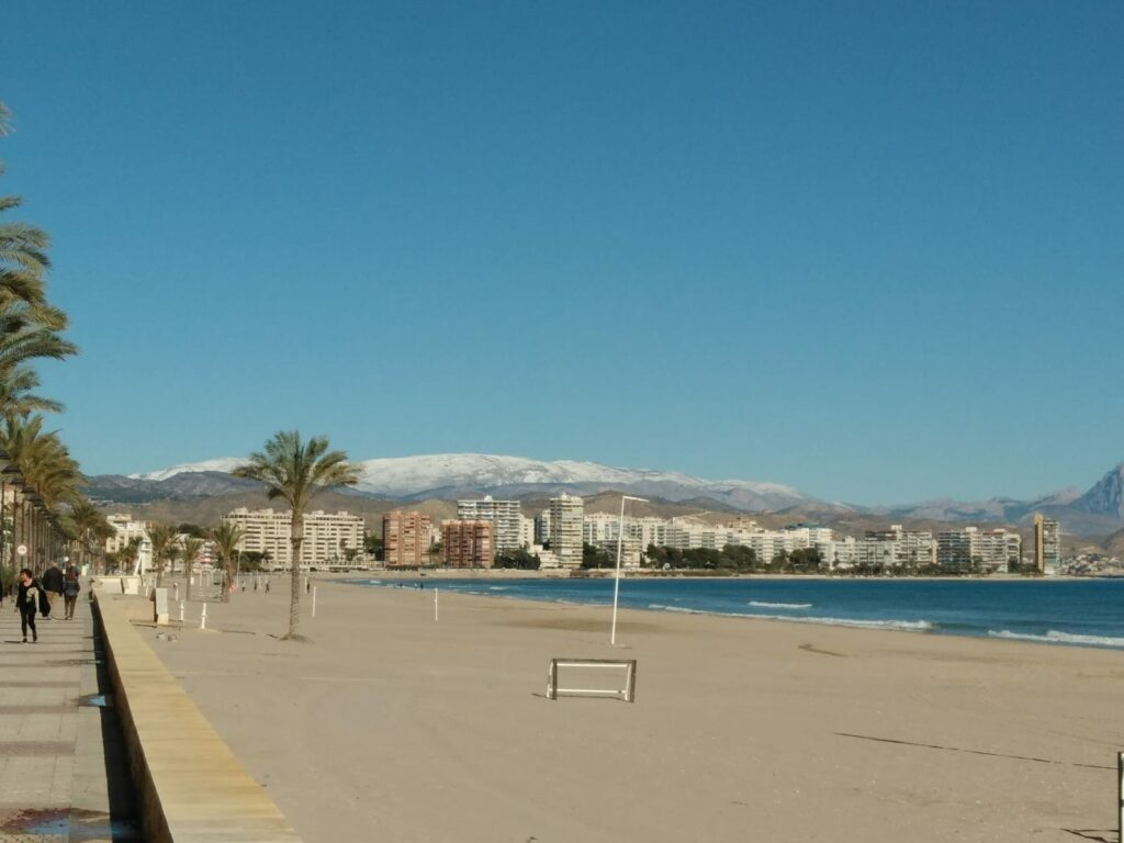 Snow capped mountains in the background, beach in the foreground