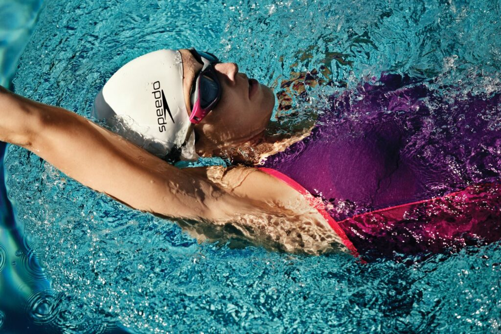 backstroke head above water