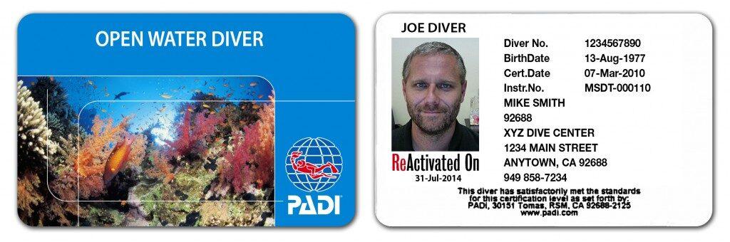 padi scuba diving license