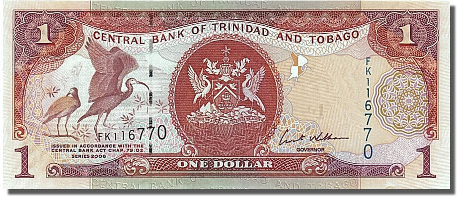 trinidad and tobago one dollar with scarlet ibis